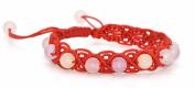 Red Rope Line Bracelet Hand Chain with Chalcedony Beads Gemstone Handmade Braided String Rotating Bracelet