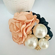 Gemini_mall® Women Satin Ribbon Ponytail Holder Rose Flower Pearls Hair Styling Rope Band Scrunchie
