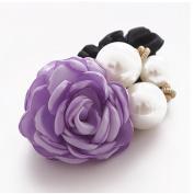 Gemini_mall® Women Satin Ribbon Ponytail Holder Rose Flower Pearls Hair Styling Rope Band Scrunchie