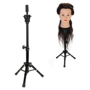 Neverland Mini Adjustable Tripod Stand Holder Black On the Desktop for Hairdressing Training Head