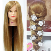 Neverland 70cm 60% Real Hair Training Head Professional Hairdressing Practise Mannequin Manikin Doll