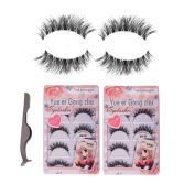 Teenitor 10 Pair Crisscross False Eyelashes Lashes + Stainless Tweezers Combo Natural Handmade Looking Soft, Makeup Eyelashes Extension With A Flexible Band