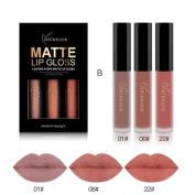 Women's Lip Glosses, Bestow Women 3PCS Set Waterproof Matte liquid Cosmetic lip gloss Long Lasting Lipstick lip gloss Kit