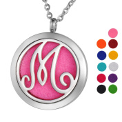 VALYRIA Monogram M Aromatherapy Essential Oil Diffuser Necklace Stainless Steel Letter Locket Pendant with Personalised Engraving