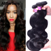 AliBarbara Peruvian Human Hair Body Wave 3 Bundles 100% 8A Unprocessed Virgin Human Hair Extension Natural Black Colour Mixed Length 30cm - 70cm