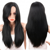 KRSI Long Straight Wigs for Women Middle Part Fluffy Lolita Cosplay Costume Black Party Non-Lace Full Wigs With Real Looking+Free Wig Cap