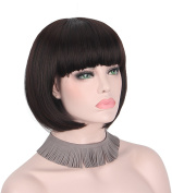 Anxin Short Bob Wig with Bangs for Student With a Free Wig Cap & Gift Box(Total 3 Colours Option:Black,Brown,Grey)