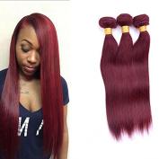 Fashion Lady Hair 99J Brazilian Virgin Hair Straight 3 Bundles (100G/Piece) Red Wine Colour 16 18 50cm 100% Unprocessed Human Virgin Hair Vibrant Soft No Smell Burgundy Hair Weaves