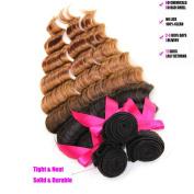 Violet Beauty Brazilian Ombre Virgin Hair Deep Wave Curly Hair 3 Bundles Extensions 16 18 50cm