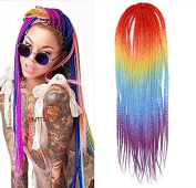 50cm Orange to Blue to Purple Colours Ombre Crochet Braid Hair Extensions, Hair Braids Havana Mambo Twist Style Cuban Twist UF569
