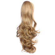 Curly Claw Clip Ponytail Hair Extensions 60cm Synthetic Ponytail Wigs Dark Blonde 120 Grammes Long Natural Clip in Ponytail Hair Pieces, #14
