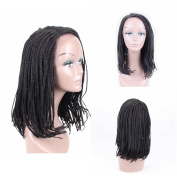 HAIR WAY Box Braided Wigs Bob Style Lace Front Wig for Black Women Glueless Medium Length Bob Braided Lace Wig with Baby Hair for Daily Wear Half Hand Tied 41cm #1B