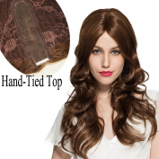 Namecute Long Curly Wig Hand-Tied Hair Replacement Wigs for Women Mono Wig Middle Part (Light Brown Colour #1233) ; Free Wig Cap
