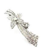 Women's Rhinestone Metal Hair Barrette Clip Hair Pin Antique Silver IMB2052, Clear