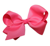 WD2U Extra Large GrosGrain Knot Bow Alligator Clip Neon Pink 1092A