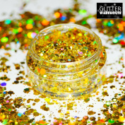 GlitterWarehouse Sunlight Gold Chunky Glitter Loose Holographic Solvent Resistant Cosmetic Grade Glitter