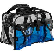 Casemetic Clear Set Bag Double Zippered Storage Compartment with 3 External Pockets and Shoulder Strap, Blue