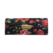 Black Small Roses Ladies Lipstick Case with Mirror Purse Lip Stick Holder