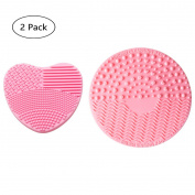 V-noah Silicone Brush Cleaners Make Up Washing Brush Heart-shaped Silica Finger Glove + Makeup Brushes Cleaning Mat with Suction Cup Scrubber Board Cosmetic Clean Tools
