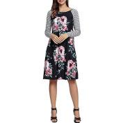 Women Dress, Neartime Fashion Long Sleeve Plus Size Floral O Neck Stripe Dress