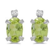 14k White Gold Oval Peridot And Diamond Earrings