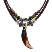 MJARTORIA Unisex Resin Wolf Tooth Beads Pendant Adjustable Brown PU Leather Cord Necklace