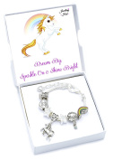'I Believe in Unicorns' Children's Charm Bracelet with Gift Box Girls Jewellery