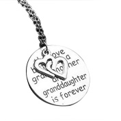 "MJARTORIA ""The love between grandmother and granddaughter is forever"" Engraved Pendant Necklace"