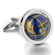 MFYS Novelty Cufflinks Map Of The World Design Cuff Links For Men With Gift Box