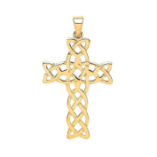 JQS- 9ct Yellow Gold Celtic Knot Cross Crucifix Pendant Hallmarked 375 Weight 1.1g