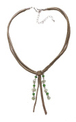 LADIES GREEN SUEDE TASSEL BEADED STATEMENT NECKLACE UNIQUE COOL NEW