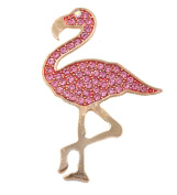 Crystal Studded Pink Flamingo Brooch with Gold Plate (Supplied in a Gift Pouch) Unique Costume Fashion Jewellery Lead Free, Nickel Free.…