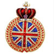 Butler and Wilson Large Union Jack with Crown Brooch Gold