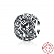 NYKKOLA Vintage 925 Sterling Silver Jewellery Hollow Bead Charm Fit Pandora Bracelet