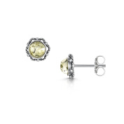 Amberta 925 Sterling Silver with Baltic Amber - Stud Round Earrings