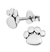 Dog Paw Print Earrings - Sterling Silver