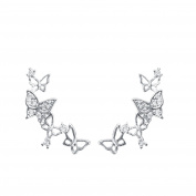 QUKE 925 Sterling Silver 3D Butterfly Cubic Zirconia Crystal Cuffs Climber Ear Vine Wrap Stud Earring