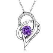 "GULICX 925 Sterling Silver ""I Love You To the Moon and Back"" Purple Amethyst Colour Heart Cubic Zirconia Necklace Pendant"