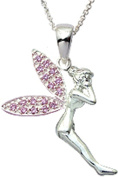 Tinkerbell Silver Pendant with black silk cord necklace. Beautifully designed