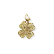 Jewelco London 9ct Yellow Gold Realistic Four-Leaf Clover Lucky Charm Pendant 27 x 24mm