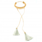 Vanina Women's 18ct Yellow Gold Plated Round Off-White Pearls Leatherette Cord Dangling Light Grey Tassels Alma Choker