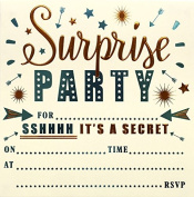 Surprise Party Invitation. High Quality Foiled Cards and Matching Envelopes. Pack of 10 Cards and Envelopes. 794 Purple
