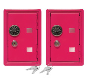 """Set of 2 Kid's Coin Bank Locker Safes - 7"""" High with Combination Lock and Key – Hot Pink"""