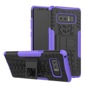 Galaxy Note 8 Case,ARSUE Hard Silicone Rubber Hybrid Armour Shockproof Protective Case Cover with Kickstand for Samsung Galaxy Note 8 (2017) - Purple