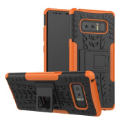 Galaxy Note 8 Case,ARSUE Hard Silicone Rubber Hybrid Armour Shockproof Protective Case Cover with Kickstand for Samsung Galaxy Note 8 (2017) - Orange