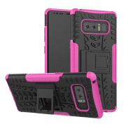 Galaxy Note 8 Case,ARSUE Hard Silicone Rubber Hybrid Armour Shockproof Protective Case Cover with Kickstand for Samsung Galaxy Note 8 (2017) - Hot Pink