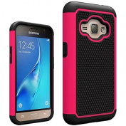 J1 2016 Case, Galaxy Amp 2 Case, Galaxy Express 3 Case,ARSUE Heavy Duty Hybrid Dual Layer Armour Defender Shockproof Protective Case Cover for Samsung Galaxy J1 2016 / Amp 2 / Express 3,Hot Pink