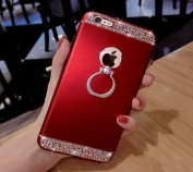 iPhone 6S Case, iPhone 6 Case, PHEZEN Fashion Luxury Crystal Diamond Rhinestone Sparkle Glitter Bling Mate Metal Hard Protective Case Cover with Ring Stand Holder for iPhone 6/6S 12cm