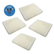 HQRP 4-pack Wick Filter for Vornado 221, 232, 421, 432, HU1-0021, HU1-0006-11, HU1-0007-11, 3120-900 Humidifiers + HQRP Coaster