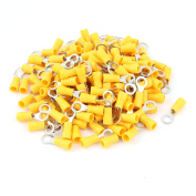 160pcs RVS2-5 Yellow Sleeve Pre Insulated Ring Terminals Connector for AWG 16-14
